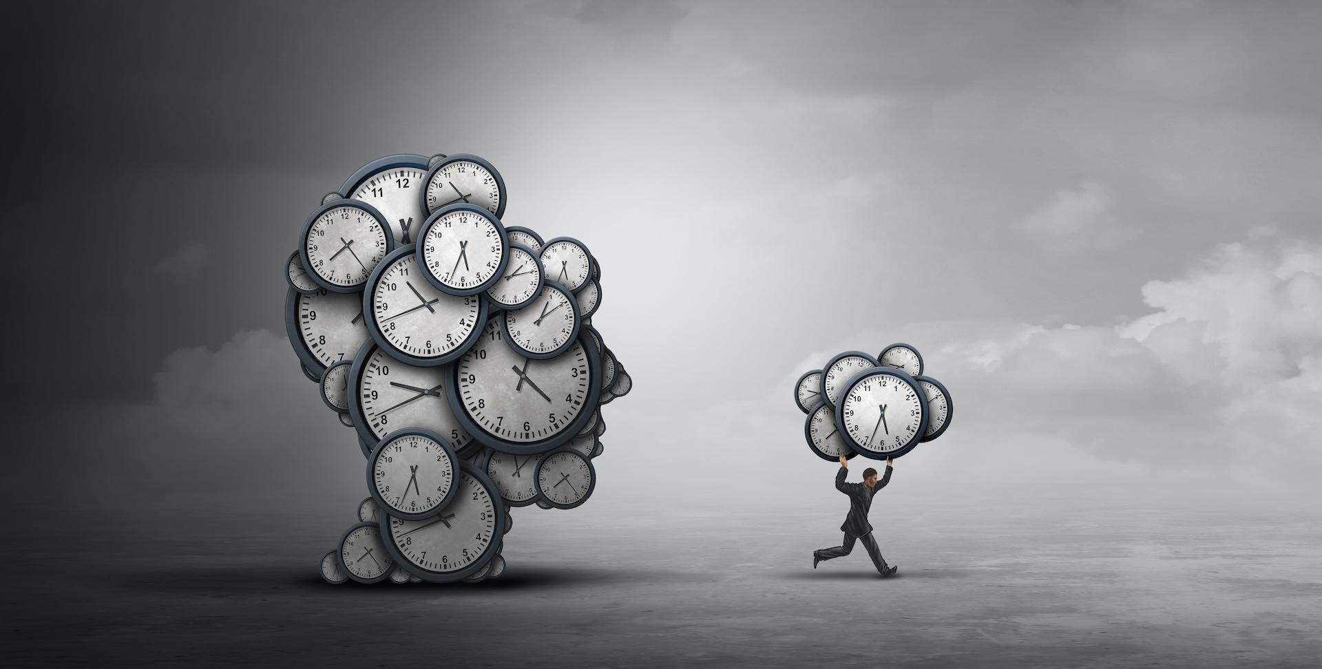 Zarządzanie czasem. Odwlekanie - to złodziej czasu. Grafika przedstawia biegnącego mężczyznę zawierającego część czasu jaki mamy.