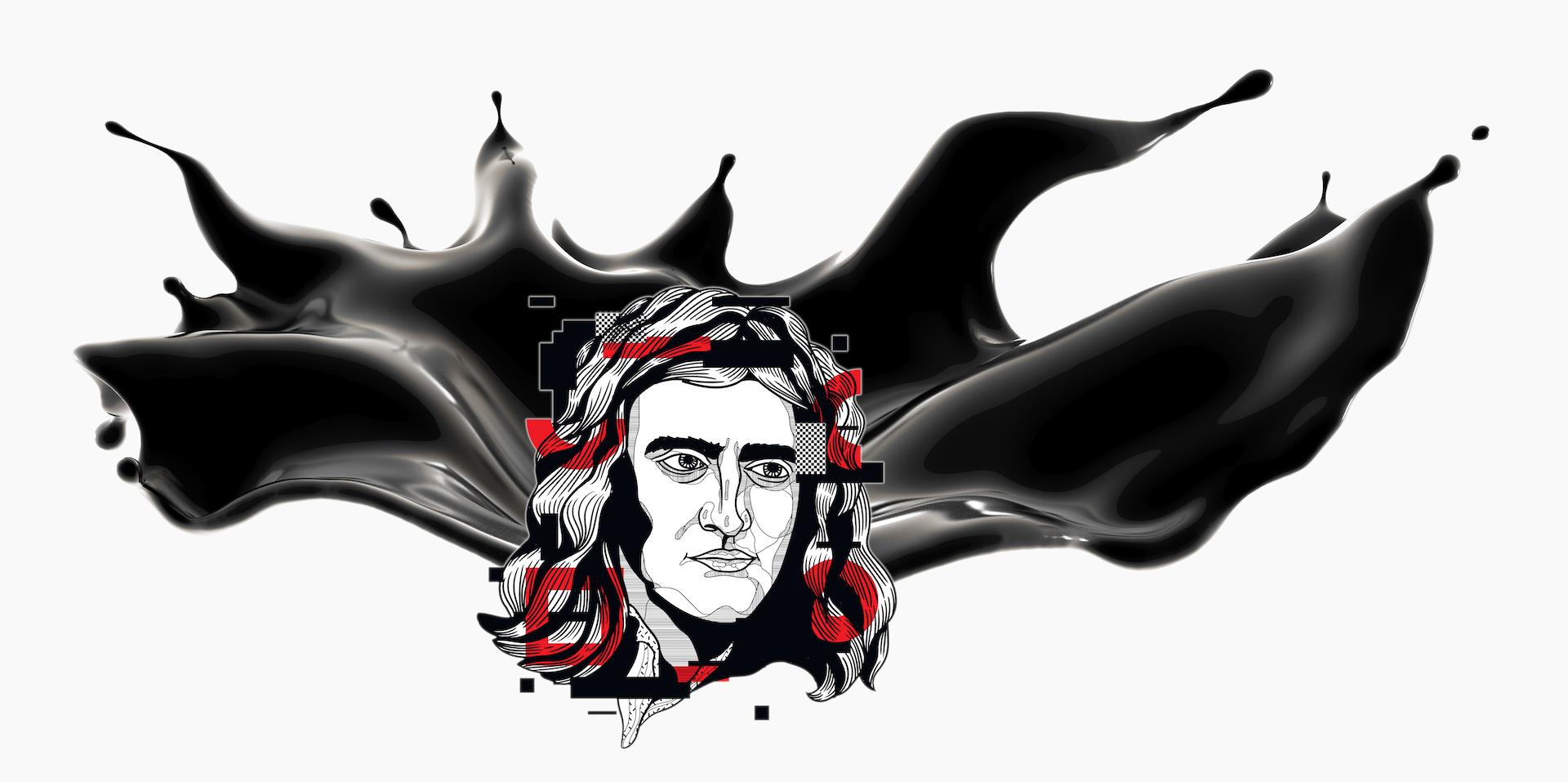 Kolaż przedstawiający grafikę głowy Newtona na tle czarnej plamy farby
