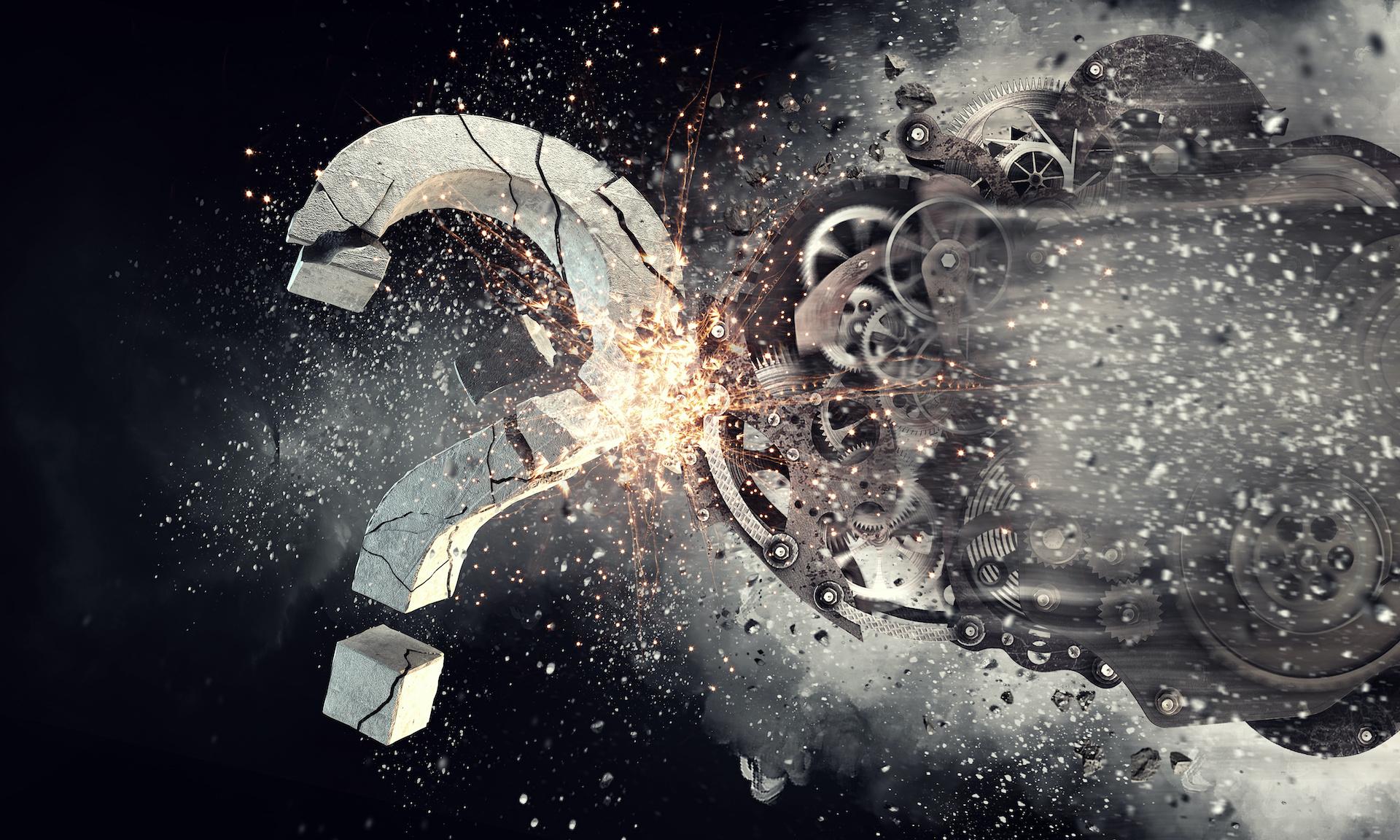 Obraz przedstawia kolaż, uszkodzone mechanizmy i duży znak zapytania.